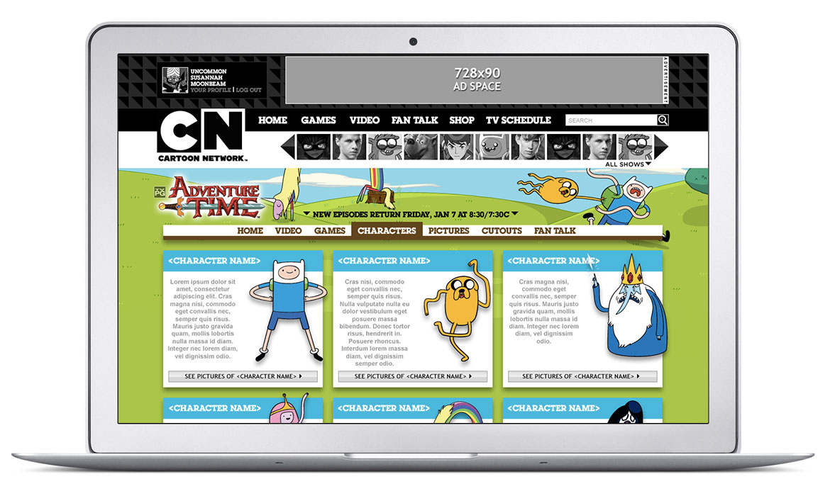 Cartoon Network Website Design